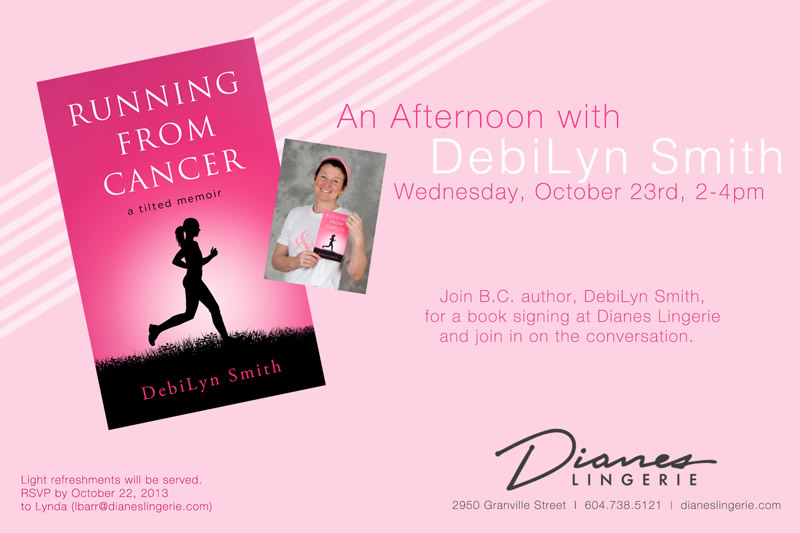 Author-and-Cancer-Survivor-DebiLyn-Smith-instore-book-signing-Dianes-Lingerie-South-Granville-Vancouver-800x533