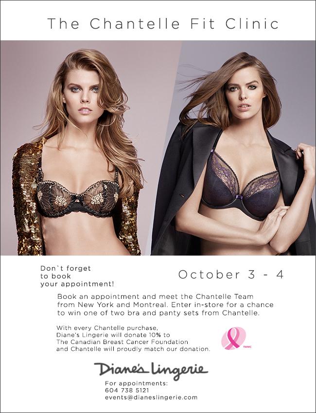 Chantelle Bra Fit Clinic Oct 3 & 4, meet their expert bra fitting team at Diane's Lingerie!