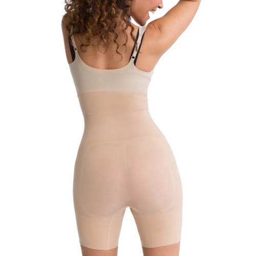 Natural - Shape My Day Open Bust Mid-Thigh Body Suit